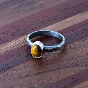 Jewelry - Simple Tigers Eye Sterling Silver Stackable Ring